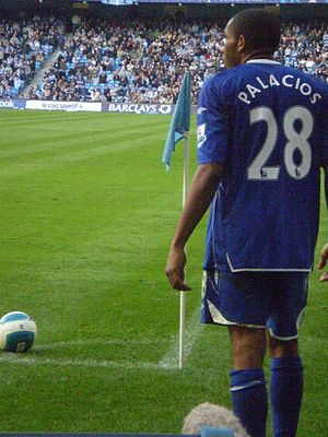 Wilson Palacios - Palacios preparing to take a corner kick for Birmingham in October 2007.
