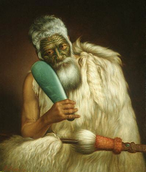 Mere (weapon) - Chief of the Te Āti Awa Tribe Wiremu Kīngi holding a jade mere (painted by Gottfried Lindauer)