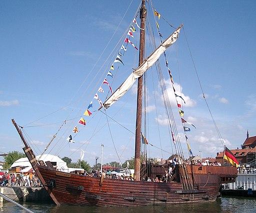 Poeler Kogge Wissemara im Alten Hafen Wismar, Koggentreffen 2006