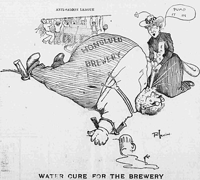 This 1902 illustration from the Hawaiian Gazette newspaper humorously shows the water cure torture used by Anti-Saloon League and WCTU on the brewers of beer. Woman's Christian Temperance Union Cartoon.jpg