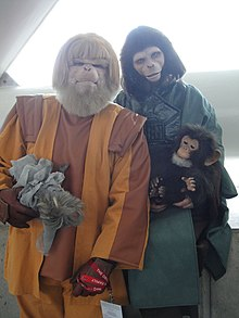 Fans in costume as Planet of the Apes characters