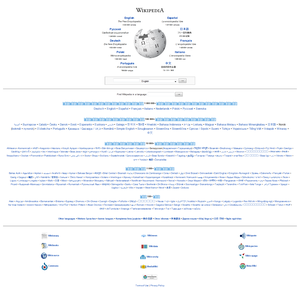 Wikipedia's multilingual portal shows the project's different language editions.