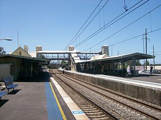 Wyong railway station - Northbound view from Platform 3 in January 2011