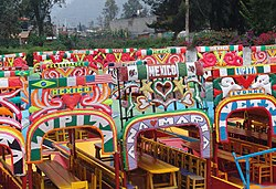 Chalupa boats at the floating gardens of Xochimilco.