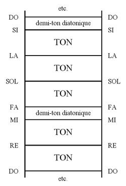 Représentation verticale de l'échelle diatonique