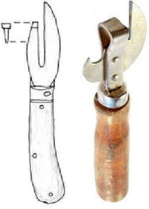 Can opener - Lever-type can opener design of 1855 by Robert Yeates