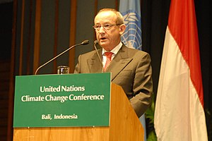2007 United Nations Climate Change Conference - Secretary of UNFCCC Yvo de Boer opens the United Nations Climate Change Conference on December 3, 2007, in Bali Indonesia.
