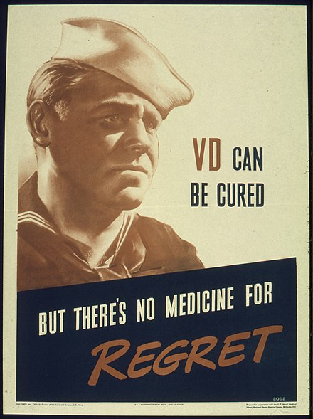 "A poster from the Office for Emergency Management, Office of War Information, 1941-1945 ""VD CAN BE CURED BUT THERE'S NO MEDICINE FOR REGRET"" - NARA - 515957.jpg"