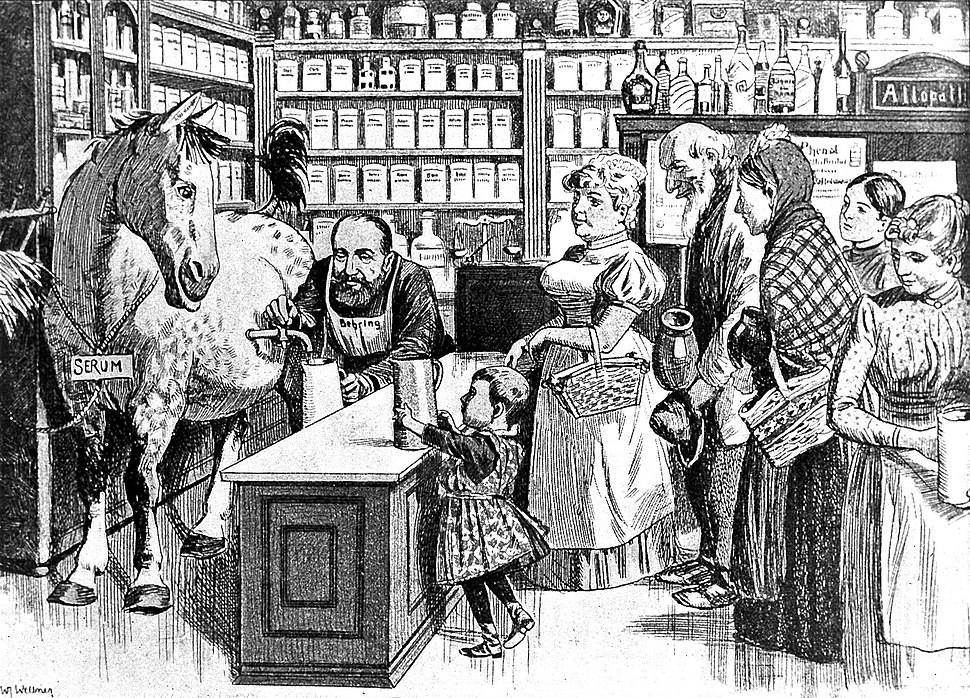 'Serum straight from the horse'., inoculation caricature Wellcome L0009827