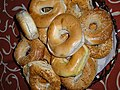 (bagels) also spelled beigel, is a bread product originating in the Jewish communities of Poland.jpg