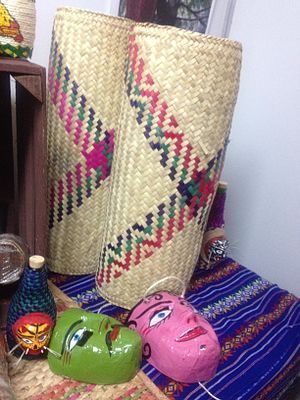 Handcrafts of Guerrero - Petates from the state for sale at a fair in Mexico City