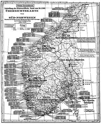 Festung Norwegen - Positions of German coastal artillery in southern Norway (February 1945)
