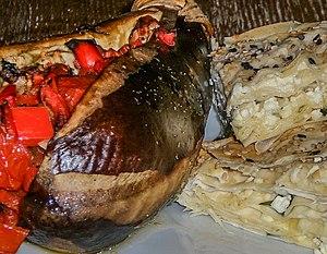 Turkish cuisine - İmam bayıldı with Borek