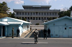 Korean Demilitarized Zone - View of the North from the southern side of the JSA