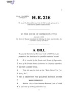 116th United States Congress H. R. 0000216 (1st session) - Main Street Tax Certainty Act.pdf