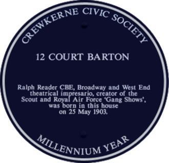 Ralph Reader - Plaque on birthplace