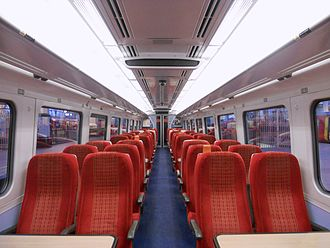 British Rail Class 159 - The interior of refurbished Standard Class aboard a South West Trains Class 159/1