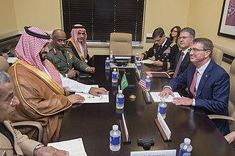 Jamal Khashoggi - Prince Mohammed bin Salman and his advisor Ahmad Asiri (blamed for Khashoggi's death) meeting U.S. Secretary of Defense Ash Carter, July 2016