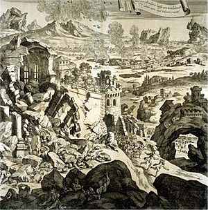 1693 Sicily earthquake - Depiction of the earthquake in an engraving from 1696, possibly showing Catania