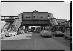 180TH ST. STATION, GENERAL VIEW IS EAST ON EAST 180TH ST. - Interborough Rapid Transit Company, Third Avenue Elevated Line, Borough of the Bronx, New York, New York County, NY HAER NY,3-BRONX,13-55.tif