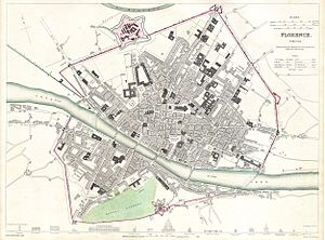 Historic Centre of Florence - 1835 City Map of Florence, still largely in the confines of its medieval city center.