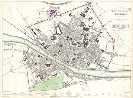1835 City Map of Florence, still largely in the confines of its medieval city centre. 1835 S.D.U.K. City Map or Plan of Florence or Firenze, Italy - Geographicus - Florence-SDUK-1835.jpg