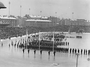 1952 Winter Olympics - From the opening ceremony at Bislett Stadium