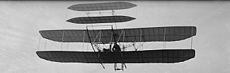 Wright Flyer III - The Wright Flyer III over Huffman Prairie, October 4, 1905 during its 46th flight