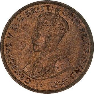 Coins of the Australian pound - Image: 1911 Australian Halfpenny Obverse