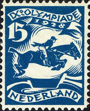 Equestrian at the 1928 Summer Olympics - Equestrian at the 1928 Summer Olympics on a stamp of the Netherlands