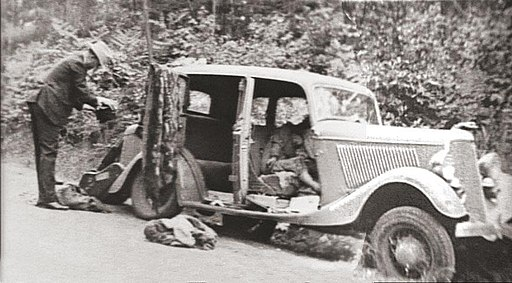 1932 Ford V-8 containing the remains of Bonnie Parker and Clyde Barrow