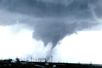 Multiple-vortex tornado - A multiple-vortex tornado outside Dallas, Texas on April 2, 1957.