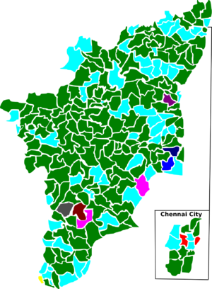 Tamil Nadu Legislative Assembly election, 1991 - Election map of results based on parties. Colours are based on the results table on the left