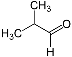 2-Methylpropanal structural formula.png