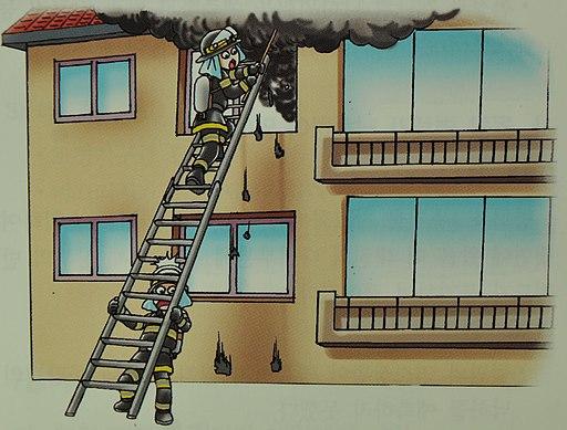 2007년 서울소방 위험예지훈련 삽화파괴된 유리조각이 사다리 확보원의 머리 위에 떨어짐