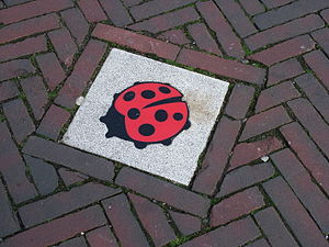 "Senseless violence - The ladybug street tile is a symbol against ""senseless violence"" in the Netherlands and is often placed on the sites of deadly crimes."