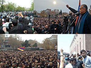 2013 Armenian protests - Raffi Hovannisian addressing the crowd at Yerevan's Freedom Square on 22 February 2013. Clash between the protesters and the police on Baghramyan Avenue on 9 April 2013. Protests in front of the Yerevan City Hall on 23 July.