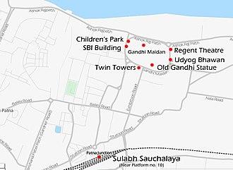 2013 Patna bombings - Map of the 2013 Patna attacks