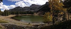 Stella Lake - Panorama of Stella Lake, with Wheeler Peak in the background