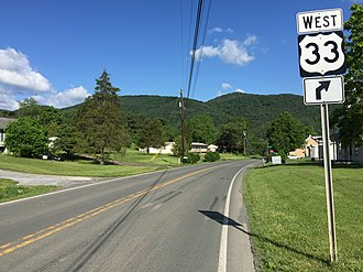 U.S. Route 33 in West Virginia - View west along US 33 in Pendleton County