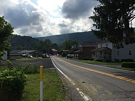 2016-06-25 09 12 12 View east along Maryland State Route 831 (Kreighbaum Road) at Maryland State Route 35 (Ellerslie Road) in Corriganville, Allegany County, Maryland.jpg