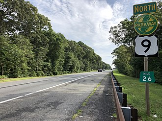 Garden State Parkway - US 9 signed with the parkway just north of Exit 25 in Upper Township