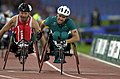 231000 - Athletics wheelchair racing 800m T52 final Greg Smith gold action - 3b - 2000 Sydney race photo.jpg