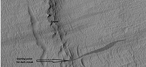 Common surface features of Mars - Image: 25609layersstreak