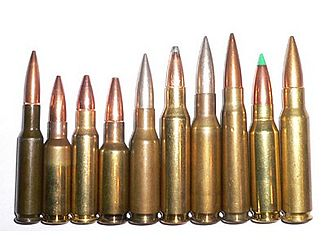 ".280 British - From left to right: 6mm SAW, 6.5mm Grendel, 6.8mm SPC, 7mm Bench Rest, .280/30 British, 7 mm-08, 7mm Second Optimum (Liviano), .276 Pedersen, .308×1.75"", 7.62×51mm NATO."