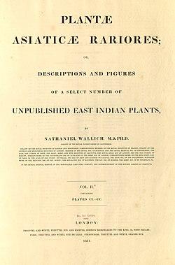 2a Nathaniel Wallich - Plantae Asiaticae Rariores - vol. II title 1 (1831).jpg