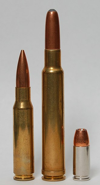 .340 Weatherby Magnum - Image: 340 Weatherby with 308 and 9mm