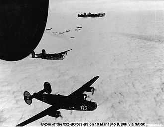 392d Air Expeditionary Group - B-24 Liberators of the 392d Bomb Group on a mission over enemy-occupied territory.
