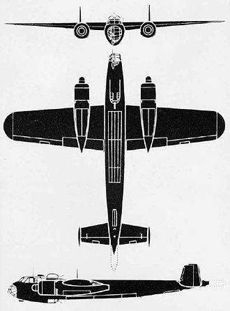 Dornier Do 217 - Outline of the Do 217E.