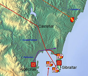 Fourth Siege of Gibraltar - Map of military movements in the Fourth Siege of Gibraltar